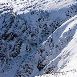 A winter view across Tuckerman Ravine from Lion Head on Mount Washington in New Hampshire's White Mountain National Forest.