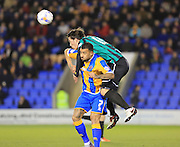 Kyle Vassell, Niall Canavan during the Sky Bet League 1 match between Shrewsbury Town and Rochdale at Greenhous Meadow, Shrewsbury, England on 1 March 2016. Photo by Daniel Youngs.