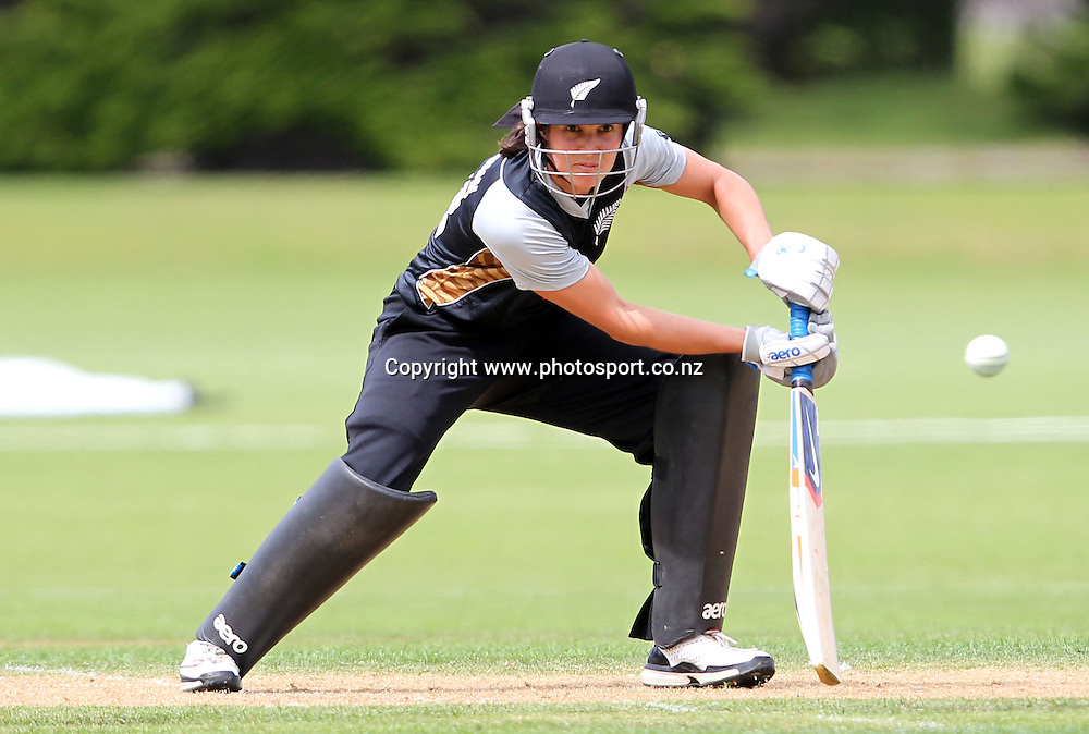 Sara McGlashan hits another boundary on her way to 50 runs.<br /> Cricket - Rosebowl Series. Twenty20 International - New Zealand White Ferns v Australia, 19 February 2011, Queens Park, Invercargill, New Zealand.<br /> Photo: Rob Jefferies / www.photosport.co.nz