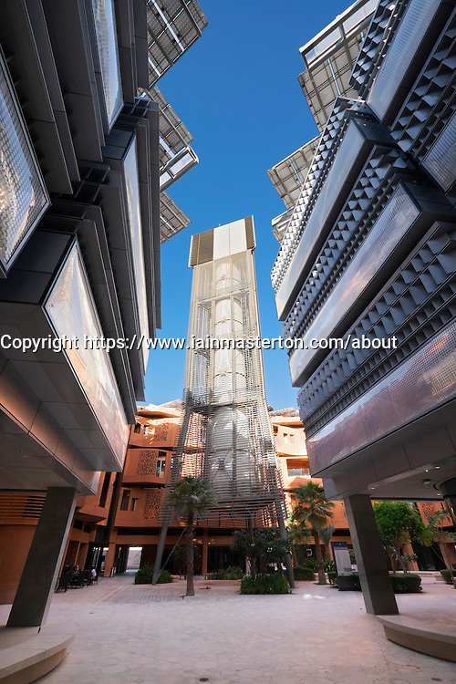 Wind tower in courtyard at Institute of Science and Technology at Masdar City in Abu Dhabi United Arab Emirates