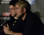 """MANCHESTER, ENGLAND, NOVEMBER 26, 2013: Alexander Gustafsson is pictured at the post-fight press conference for """"UFC Fight Night 30: Machida vs. Munoz"""" inside Phones4U Arena in Manchester, England (© Martin McNeil)"""