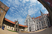 MEISSEN, GERMANY - MAY 22, 2010: Unidentified tourists visit Albrechtsburg castle in Meissen, Germany. Filmed with a fish-eye lens.