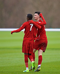 DERBY, ENGLAND - Friday, March 8, 2019: Liverpool's Rafael Camacho (L) celebrates scoring the second goal with team-mate Curtis Jones during the FA Premier League 2 Division 1 match between Derby County FC Under-23's and Liverpool FC Under-23's at the Derby County FC Training Centre. (Pic by David Rawcliffe/Propaganda)