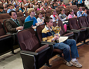 Matthew Pitcock of Maysville Middle School located in Zanesville, OH, holds his trophy in the front row after being named the Southeastern Ohio Regional Spelling Bee champion Saturday, March 16, 2013. The Regional Spelling Bee was sponsored by Ohio University's Scripps College of Communication and held in Margaret M. Walter Hall on OU's main campus.