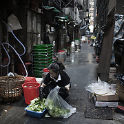 Early morning kitchen preparations in the back streets in Central.<br />