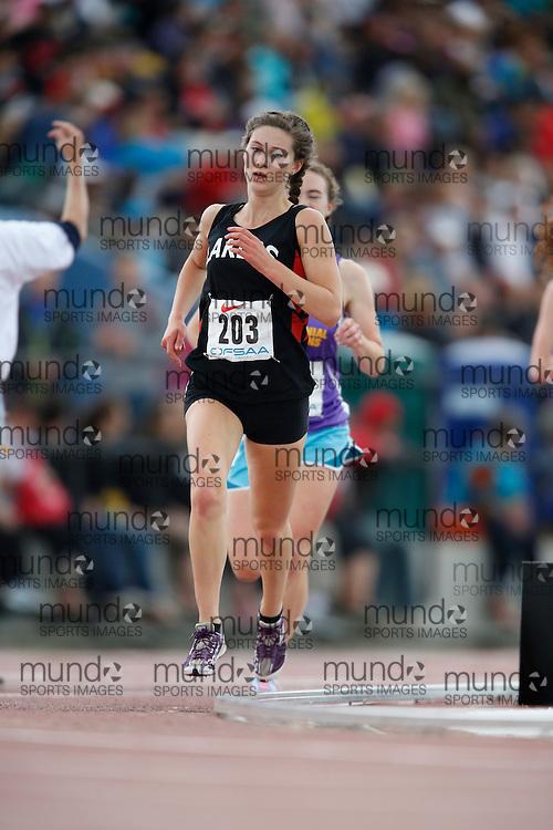 Natalia Hawthorn of Bracebridge MLSS - Bracebrige competes in the senior girls 3000m at the 2013 OFSAA Track and Field Championship in Oshawa Ontario, Saturday,  June 8, 2013.<br /> Mundo Sport Images/ Geoff Robins
