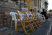 Matera, Basilicata, Italy - July 2007 - The feast of the Madonna della Bruna. the chairs occupied for the procession.