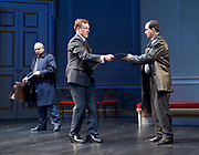 Oslo <br /> by J. T. Rogers <br /> at The Lyttelton Theatre, National Theatre, Southbank, London, Great Britain <br /> press photocall <br /> 8th September 2017 <br /> a Lincoln Centre Theatre Production<br /> <br /> <br /> <br /> Peter Polycarpou as Ahmed Qurie <br /> Toby Stephens as Terje Larsen <br /> Philip Arditti as Uri Savir<br /> <br /> <br /> <br /> <br /> directed by Bartlett Sher<br /> Michael Yeargan - set design <br /> Catherine Zuber - Costume design <br /> Donald Holder - Lighting design <br /> Photograph by Elliott Franks <br /> Image licensed to Elliott Franks Photography Services