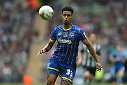 AFC Wimbledon striker Lyle Taylor (33) during the Sky Bet League 2 play off final match between AFC Wimbledon and Plymouth Argyle at Wembley Stadium, London, England on 30 May 2016.