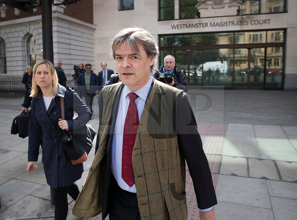 © Licensed to London News Pictures. 04/04/2017. London, UK. Rhodri Colwyn Philipps, Viscount St Davids, leaves Westminster Magistrates court. The peer is charged with alleged online threats against Brexit legal challenger Gina Miller. Photo credit: Peter Macdiarmid/LNP