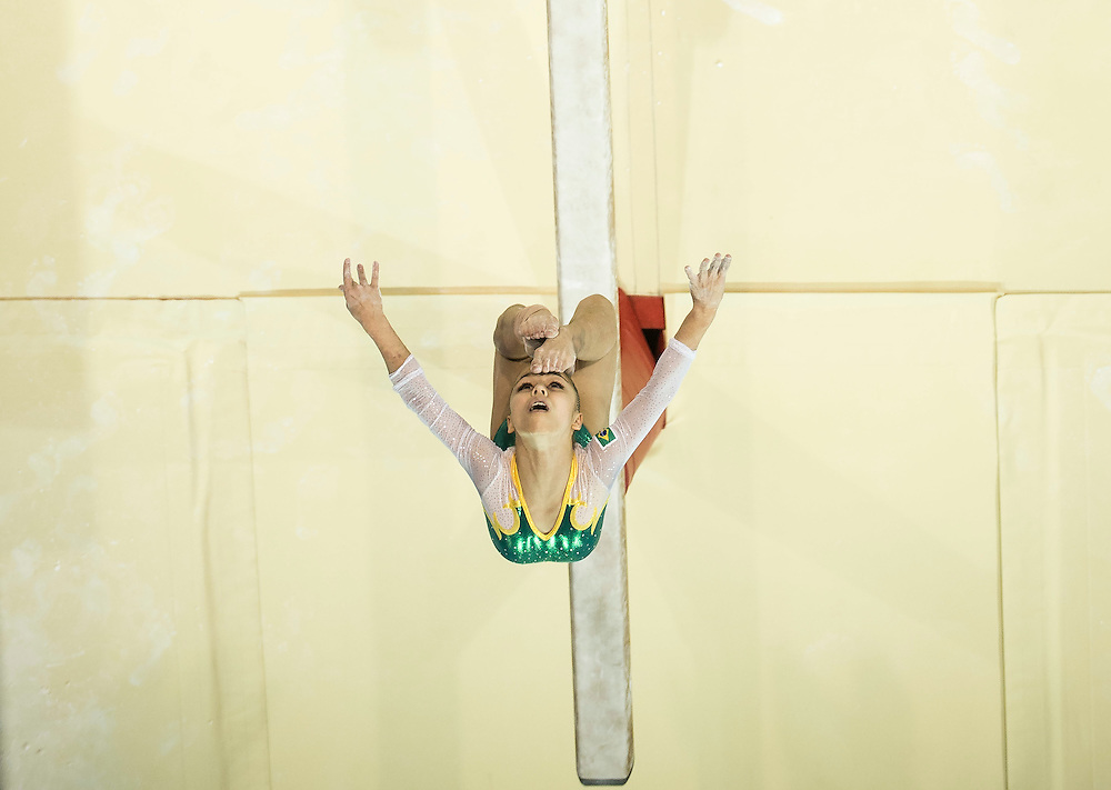 Flavia Lopes Saraiva of Brazil on the beam during the women's all around artistic gymnastics competition at the 2015 PanAm Games in Toronto.