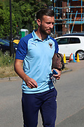 AFC Wimbledon defender Luke O'Neill (2) arriving during the EFL Sky Bet League 1 match between AFC Wimbledon and Shrewsbury Town at the Cherry Red Records Stadium, Kingston, England on 14 September 2019.
