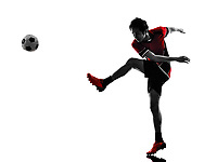 one asian soccer player young man kicking in silhouette isolated white background
