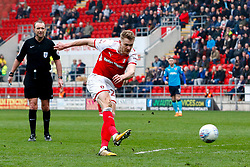 Michael Smith of Rotherham United shoots - Mandatory by-line: Ryan Crockett/JMP - 07/04/2018 - FOOTBALL - Aesseal New York Stadium - Rotherham, England - Rotherham United v Fleetwood Town - Sky Bet League One