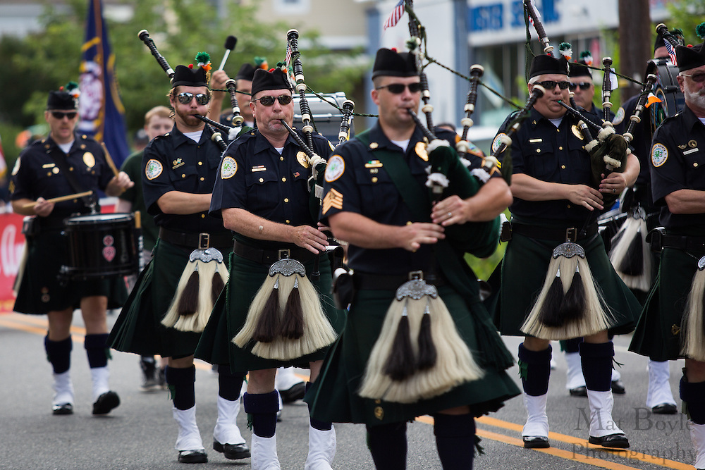 Camden County NJ Emerald Society Pipes and Drums in the Pitman 4th of July Parade at Broadway in Pitman, NJ on Thursday July 4, 2013. (photo / Mat Boyle)