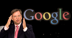Google Inc. chief executive Eric Schmidt  gestures  during a news conference at NASA Ames Research Center in Mountain View, Calif., Sept. 28, 2005,  He  announced plans for Google to build a new 1 million square foot corporate campus at  the facility.  Google, the  leading Internet  search company, will build offices, housing and roads. at  the  now vacant site in the heart of Silicon Valley.   Photo by Kim Kulish/