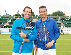 LIVERPOOL, ENGLAND - Thursday, June 21, 2012: Greg Rusedski (GRB) and Richard Krajicek (NED) during the opening day of the Medicash Liverpool International Tennis Tournament at Calderstones Park. (Pic by David Rawcliffe/Propaganda)