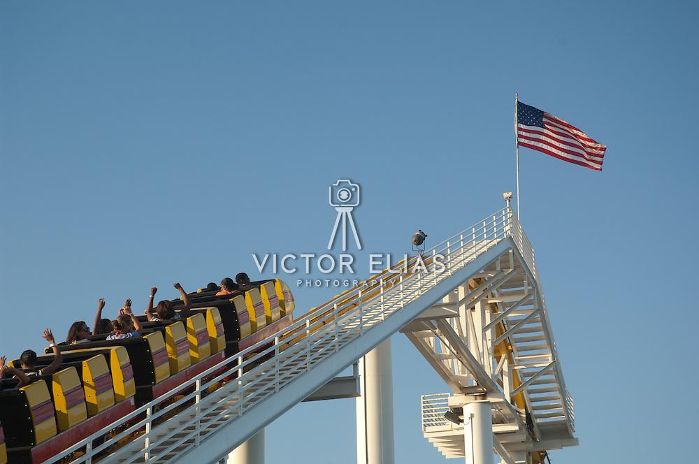 Roller coaster and ferries wheel atSanta Monica Pier amusement park, CA.USA.