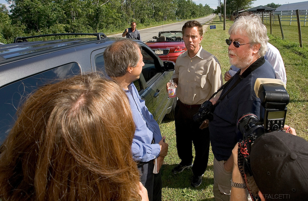 GOSHEN, CT - AUGUST 5:  Greenwich, CT businessman Ned Lamont is told by campaign staff that they were not allowed to enter the Litchfield Jazz Festival August 5, 2006 in Goshen, Connecticut. Lamont and his supporters including actor Danny Glover and California Congreeswoman Mazine Waters were first told they would not be allowed to enter the festival by organizer Vita Muir. Muir later said they could enter and enjoy the jazz, but not campaign. Lamont is in a heated race for the Connecticut democratic nomination for Senate against Sen. Joe Lieberman. (Photo by Bob Falcetti/Getty Images)