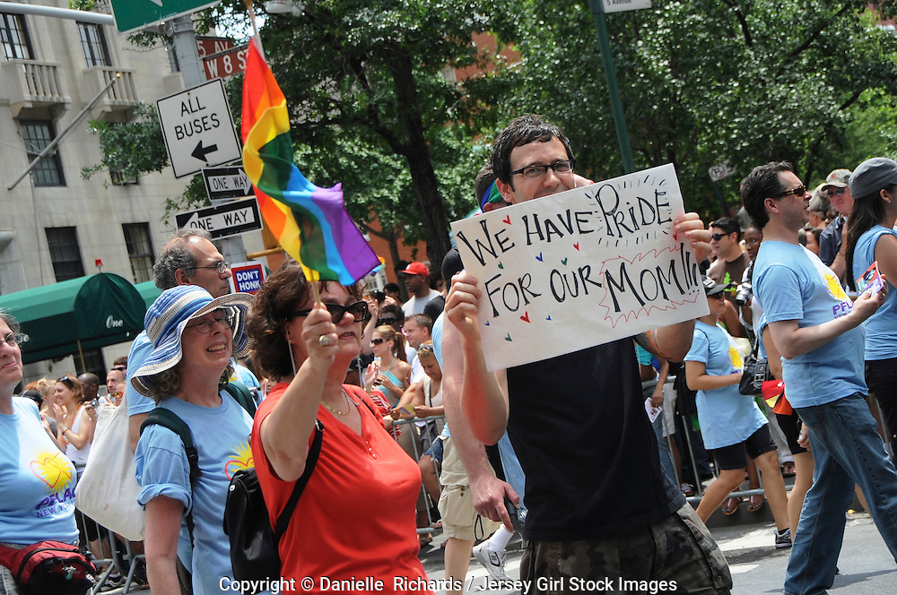PFLAG and other Gay Rights support groups marching in the 2008 Pride Parade in New York.
