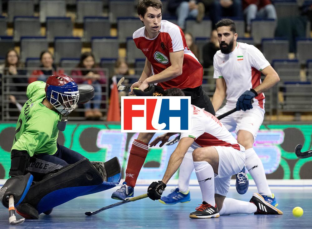 BERLIN - Indoor Hockey World Cup<br /> Men: Iran - Austria<br /> foto: EITENBERGER Sebastian, NOROUZZADEH Reza and CHAZANISHARAHI Alireza (GK).<br /> WORLDSPORTPICS COPYRIGHT FRANK UIJLENBROEK