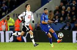 Riyad Mahrez of Leicester City passes the ball away from Julien de Sart of Derby County - Mandatory by-line: Robbie Stephenson/JMP - 08/02/2017 - FOOTBALL - King Power Stadium - Leicester, England - Leicester City v Derby County - Emirates FA Cup fourth round replay