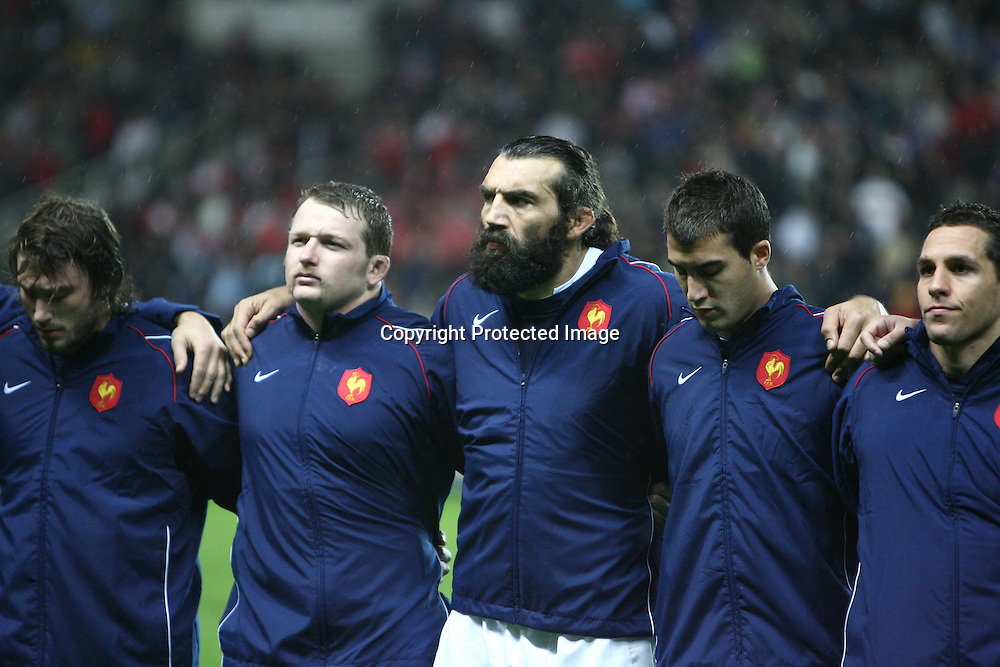 Rugby : France / Fidji - Test Match Tournee d Automne - 13.11.2010 - Benjamin Noirot - Sebastien Chabal - Jerome Porical - Julien Arias (France) *** Local Caption *** 00042416
