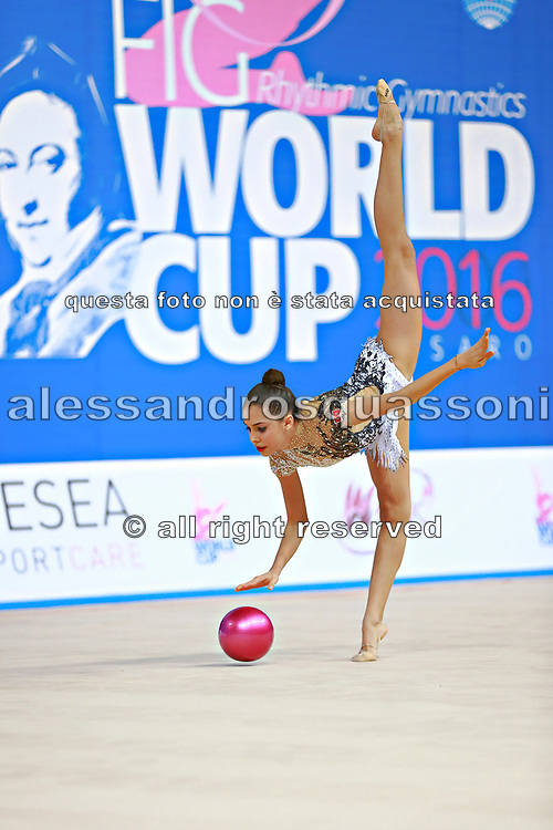 "Bektas Selen during ball routine at the International Tournament of rhythmic gymnastics ""Città di Pesaro"", 02 April, 2016. Selen is a Turkish  individualistic gymnast, born on January 15, 2001 in Çankaya.<br />