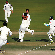 Pakistan bowler Abdur Rehman leaps into the arms of Saeed Ajmal in celebration as Pakistan clinch the series win after Umar Gul catches out James Anderson during the third day of the second test match between Pakistan and England at the Sheikh Zayed Stadium. Abu Dhabi, UAE. January 28, 2012.<br /> <br /> Picture by Jack Megaw | www.jackmegaw.com<br /> +44 7481 764811<br /> jack@jackmegaw.com<br /> 28/01/2012