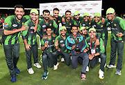 Pakistan players pose for a team photo after winning the series 2-1.<br /> Pakistan tour of New Zealand. T20 Series. 3rd Twenty20 international cricket match, Bay Oval, Mt Maunganui, New Zealand. Sunday 28 January 2018. © Copyright Photo: Andrew Cornaga / www.Photosport.nz