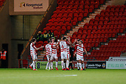 Doncaster Rovers celebrate Mallik Wilks of Doncaster Rovers goal during the EFL Sky Bet League 1 match between Doncaster Rovers and Bristol Rovers at the Keepmoat Stadium, Doncaster, England on 26 March 2019.