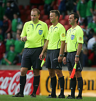 Photo: Andrew Unwin.<br />Northern Ireland v Iceland. European Championships 2008 Qualifying. 02/09/2006.<br />The Norwegian match officials, Mrr Tommy Skjerven (referee, C), Mr Steinar Holvik and Mr Geir Age Holen.