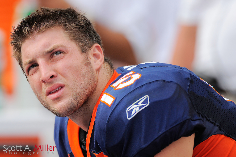 Denver Broncos quarterback Tim Tebow (15) sits on the bench during the Broncos 18-15 overtime win against the Miami Dolphins at Sun Life Stadium on Oct. 22, 2011 in Miami Gardens, Fla.  ..©2011 Scott A. Miller