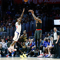 08 January 2018: Atlanta Hawks guard Malcolm Delaney (5) takes a jump shot over LA Clippers guard Lou Williams (23) during the LA Clippers 108-107 victory over the Atlanta Hawks, at the Staples Center, Los Angeles, California, USA.