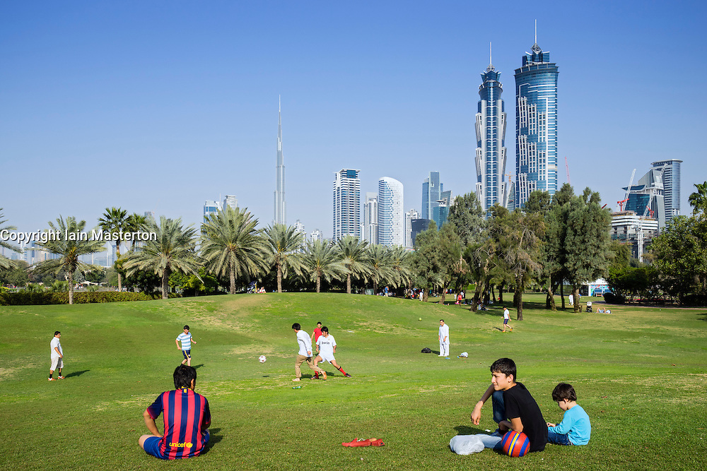 Skyline of Dubai from Al Safa Park in Dubai United Arab Emirates