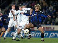 GENK 16/01/2004 <br /> SPORT / FOOTBALL / VOETBAL / <br /> KRC GENK - CLUB BRUGGE / KRC GENK - CLUB BRUGES / <br /> BRIAN PRISKE - BENGT SÆTERNES<br /> Foto: Digitalsport