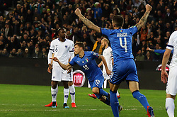 "March 23, 2019 - Udine, Italia - Foto LaPresse/Andrea Bressanutti.23/03/2019 Udine (Italia).Sport Calcio.Italia vs. Finlandia - European Qualifiers - Stadio ""Dacia Arena"".Nella foto: barella goal..Photo LaPresse/Andrea Bressanutti.March  23, 2019 Udine (Italy).Sport Soccer.Italy vs Finland - European Qualifiers  - ""Dacia Arena"" Stadium .In the pic: barella goal (Credit Image: © Andrea Bressanutti/Lapresse via ZUMA Press)"