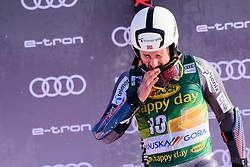 March 9, 2019 - Kranjska Gora, Kranjska Gora, Slovenia - Marco Odermatt of Switzerland celebrating his third place at the Audi FIS Ski World Cup Vitranc on March 8, 2019 in Kranjska Gora, Slovenia. (Credit Image: © Rok Rakun/Pacific Press via ZUMA Wire)