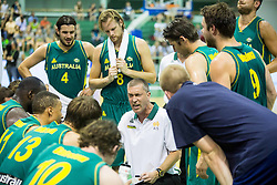 Andrej Lemanis, head coach of Australia during friendly basketball match between National teams of Slovenia and Australia, on August 3, 2015 in Arena Tri lilije, Lasko, Slovenia. Photo by Vid Ponikvar / Sportida