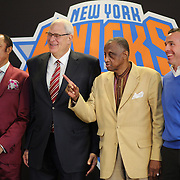 Former New York Knicks players Clyde Frazier, Phil Jackson, Dick Barnett and Peter DeBusschere (Dave DeBusschere's son) during a press conference introducing Phil Jackson as New York Knicks president  at Madison Square Garden, New York, USA. 18th March 2014. Photo Tim Clayton