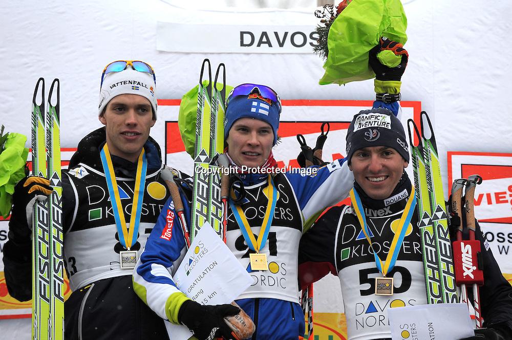CROSS COUNTRY WORLD CUP 2009-2010 - 15 Km Free Individual - Davos, Svizzera, 12 dicembre 2009.<br /> Marcus Hellner (SWE) secondo, Matti Heikkinen (FIN) vincitore, Maurice manificat (FRA) terzo