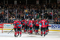 KELOWNA, CANADA - MARCH 16:  The Kelowna Rockets' celebrate the OT win against the Vancouver Giants on March 16, 2019 at Prospera Place in Kelowna, British Columbia, Canada.  (Photo by Marissa Baecker/Shoot the Breeze)