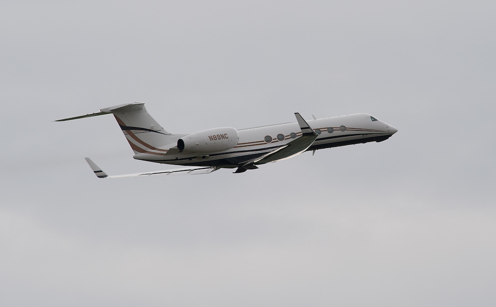 News Corp Boss Rupert Murdoch leaving Luton Airport in his private jet on July 20th 2011....