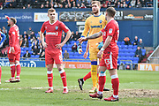 Gillingham Midfielder, Jake Hessenthaler (8) and Gillingham Goalkeeper, Tomáš Holý (13) get ready for a corner during the EFL Sky Bet League 1 match between Oldham Athletic and Gillingham at Boundary Park, Oldham, England on 14 April 2018. Picture by Mark Pollitt.