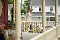 Jen and Tony's Wedding Day.  Gathering on the Porch  York, Maine.  ©2015 Karen Bobotas Photographer