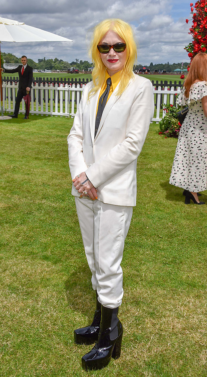 Pam Hogg at the Cartier Queen's Cup Polo 2019 held at Guards Polo Club, Windsor, Berkshire. UK 16 June 2019. <br /> <br /> Photo by Dominic O'Neill/Desmond O'Neill Features Ltd.  +44(0)7092 235465  www.donfeatures.com