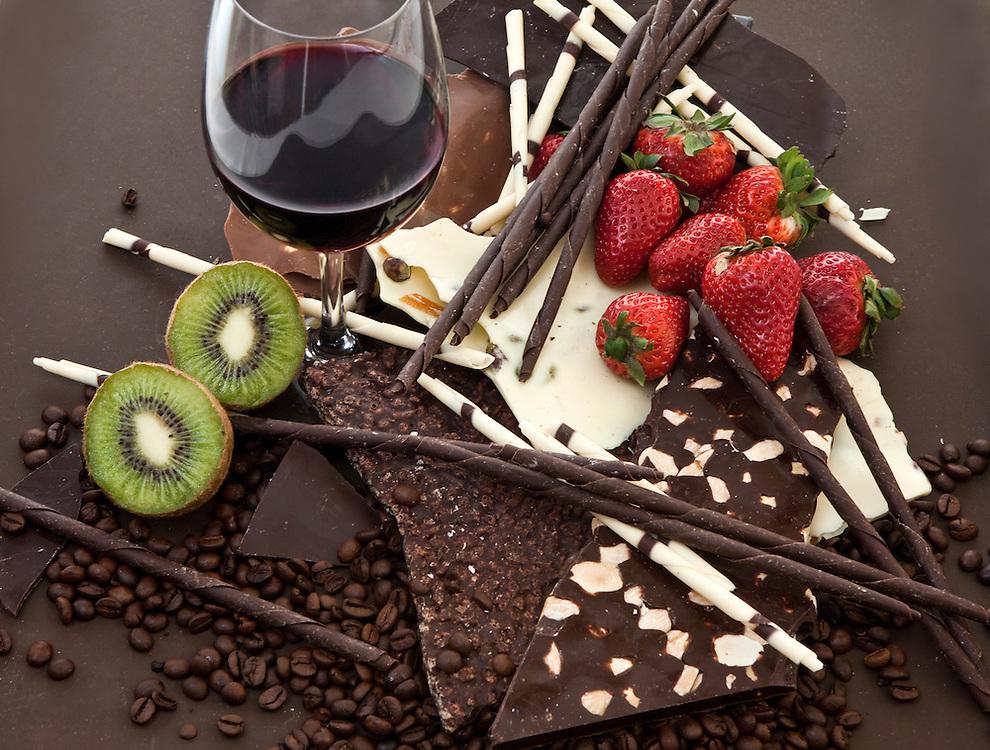 Chocolate, wine and fruits.