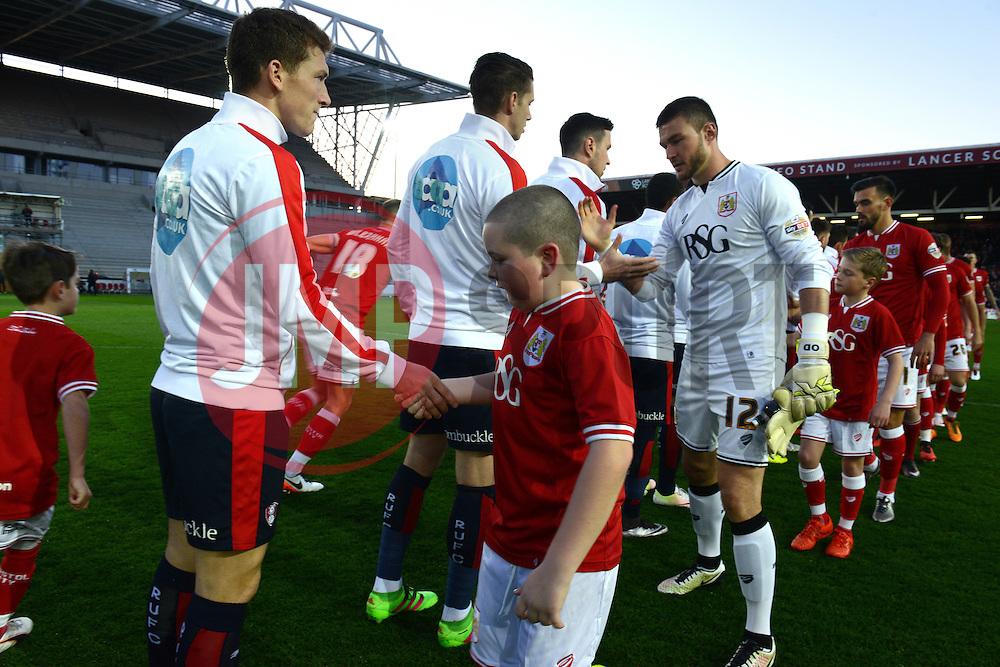Mascots shake hands with Rotherham players before kick off - Mandatory by-line: Dougie Allward/JMP - 05/04/2016 - FOOTBALL - Ashton Gate Stadium - Bristol, England - Bristol City v Rotherham United - Sky Bet Championship