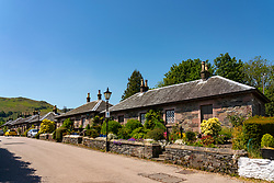 View of cottages in village of Luss beside Loch Lomond in Argyll and Bute, Scotland, UK