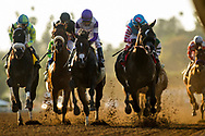 ARCADIA, CA - MARCH 11: Midnight Storm #1, ridden by Rafael Bejarano leads Gangster #2, ridden by Mario Gutierrez, and Shaman Ghost #3, with Javier Castellano up, and Isotherm #4 with Flavien Prat, during the Santa Anita Handicap at Santa Anita Park  on March 11, 2017 in Arcadia, California. (Photo by Alex Evers/Eclipse Sportswire/Getty Images)